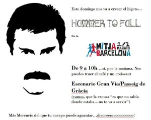 Cartel Hammer to Fall en la Media martón de Barcelona